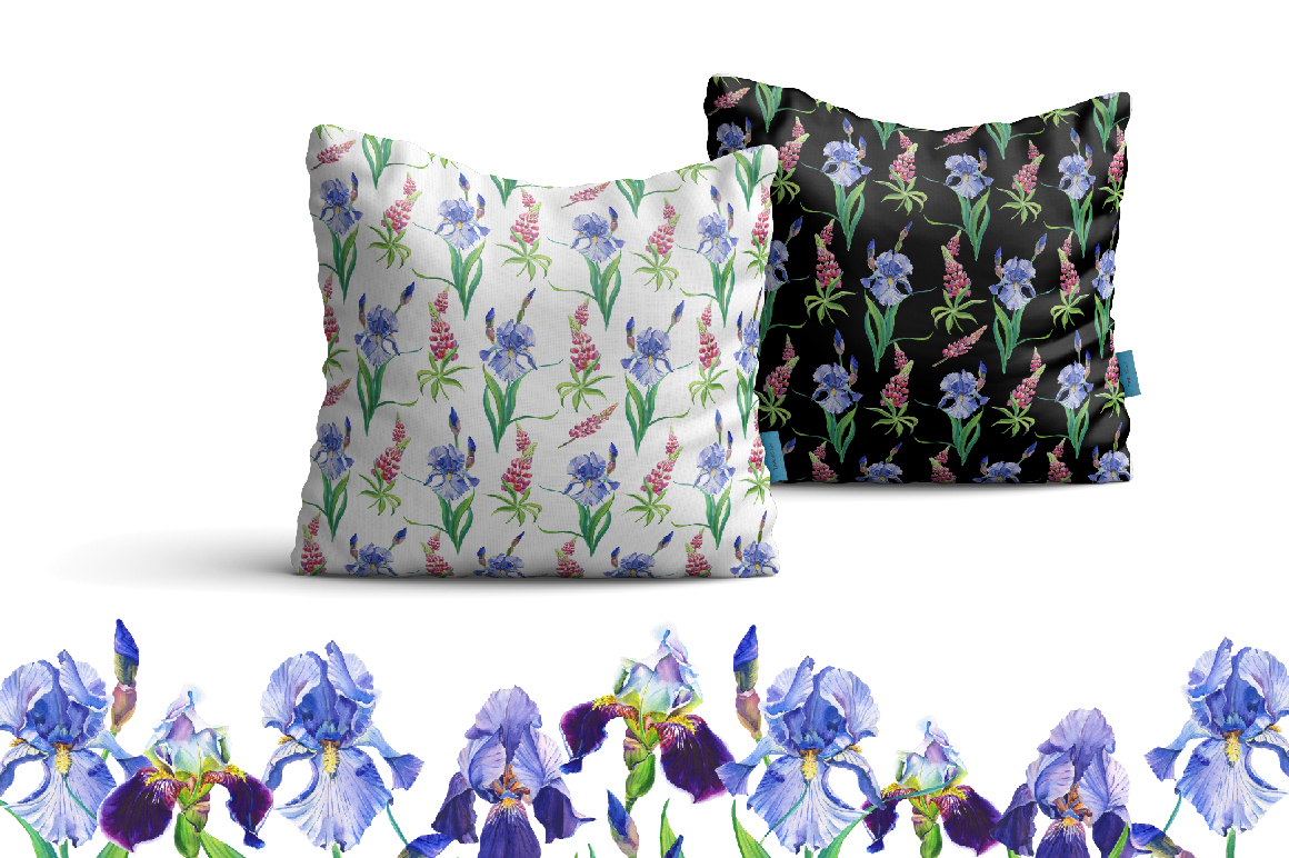Watercolor irises,lupines.Patterns. example image 2