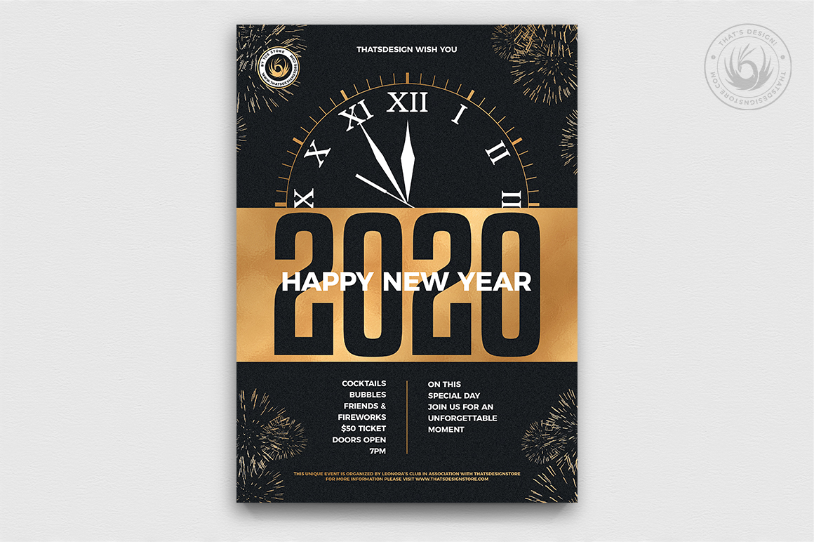 New Year Flyer Template V10 example image 1