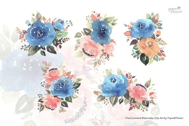 Vintage Blue Floral Watercolor Bouquet Set example image 3