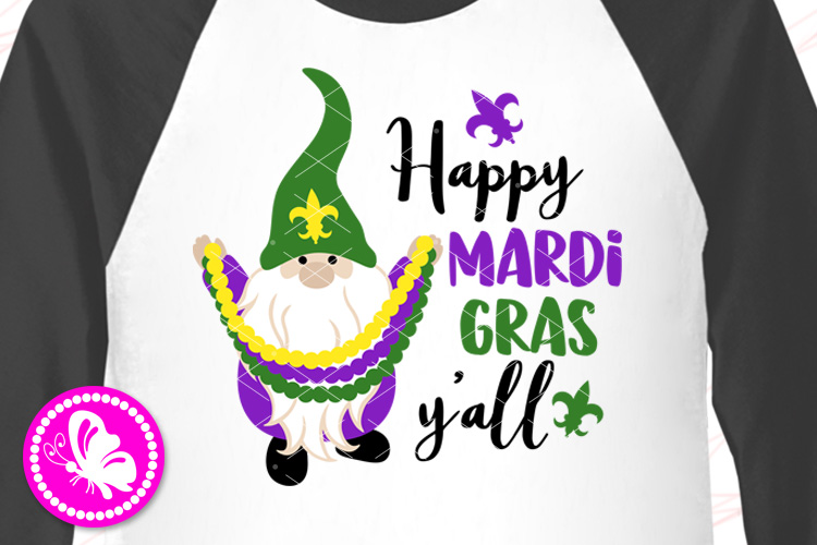 Mardi Gras Gnome with hat Beads Gnomies shirt Fleur de Lis example image 1