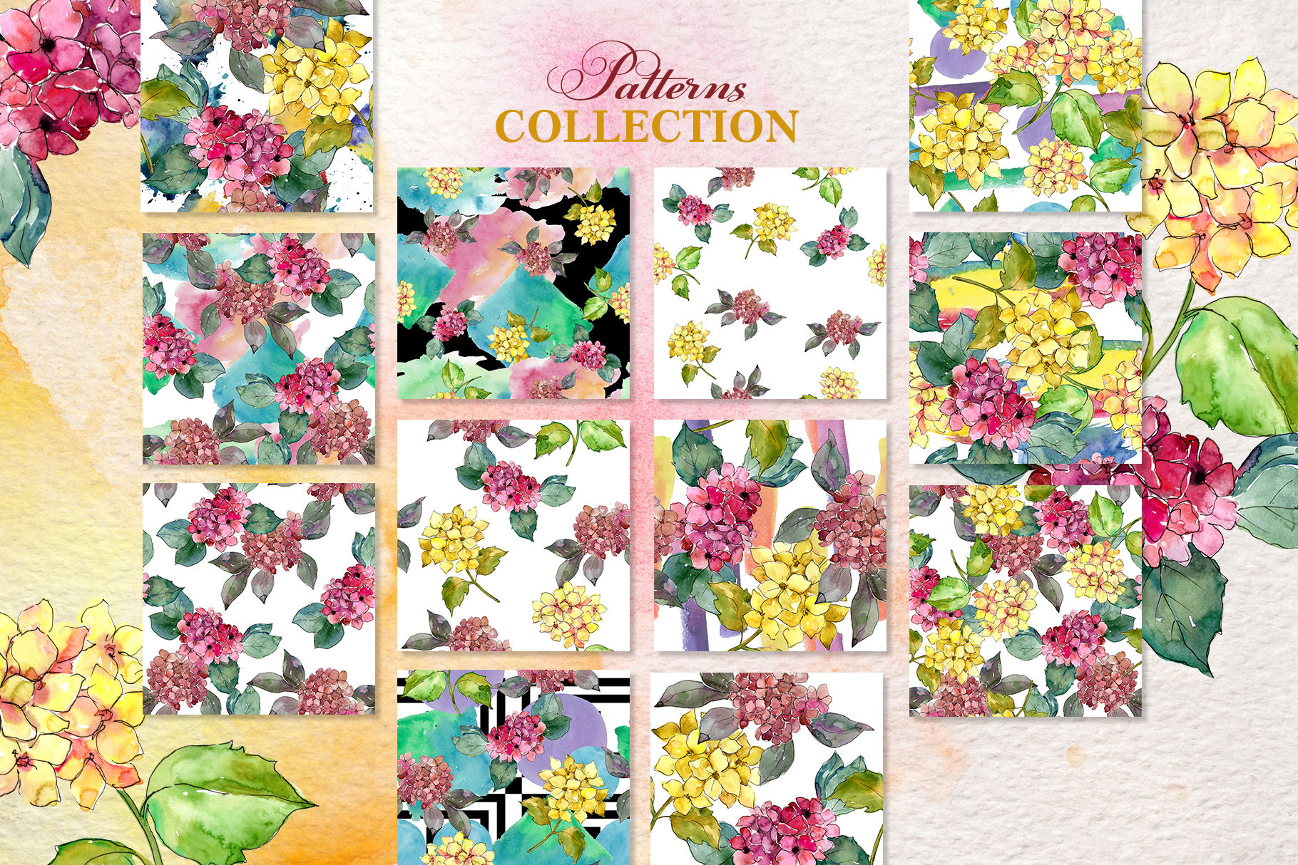 Hydrangeas Yellow-pink Watercolor png example image 3
