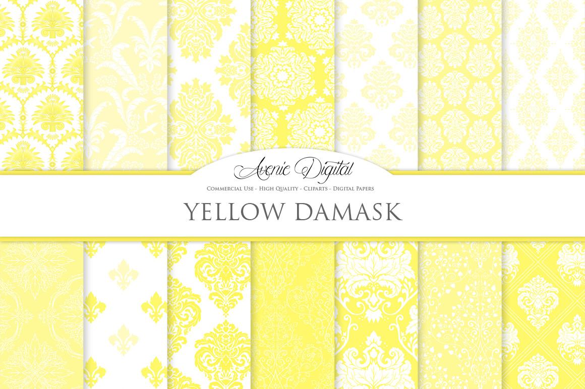 28 Yellow Damask Patterns - Seamless Digital Papers Bundle example image 2