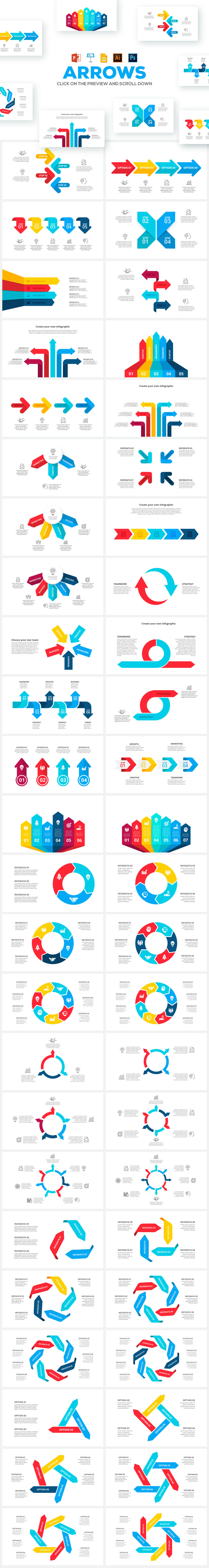 Arrows animated infographics presentations example image 2