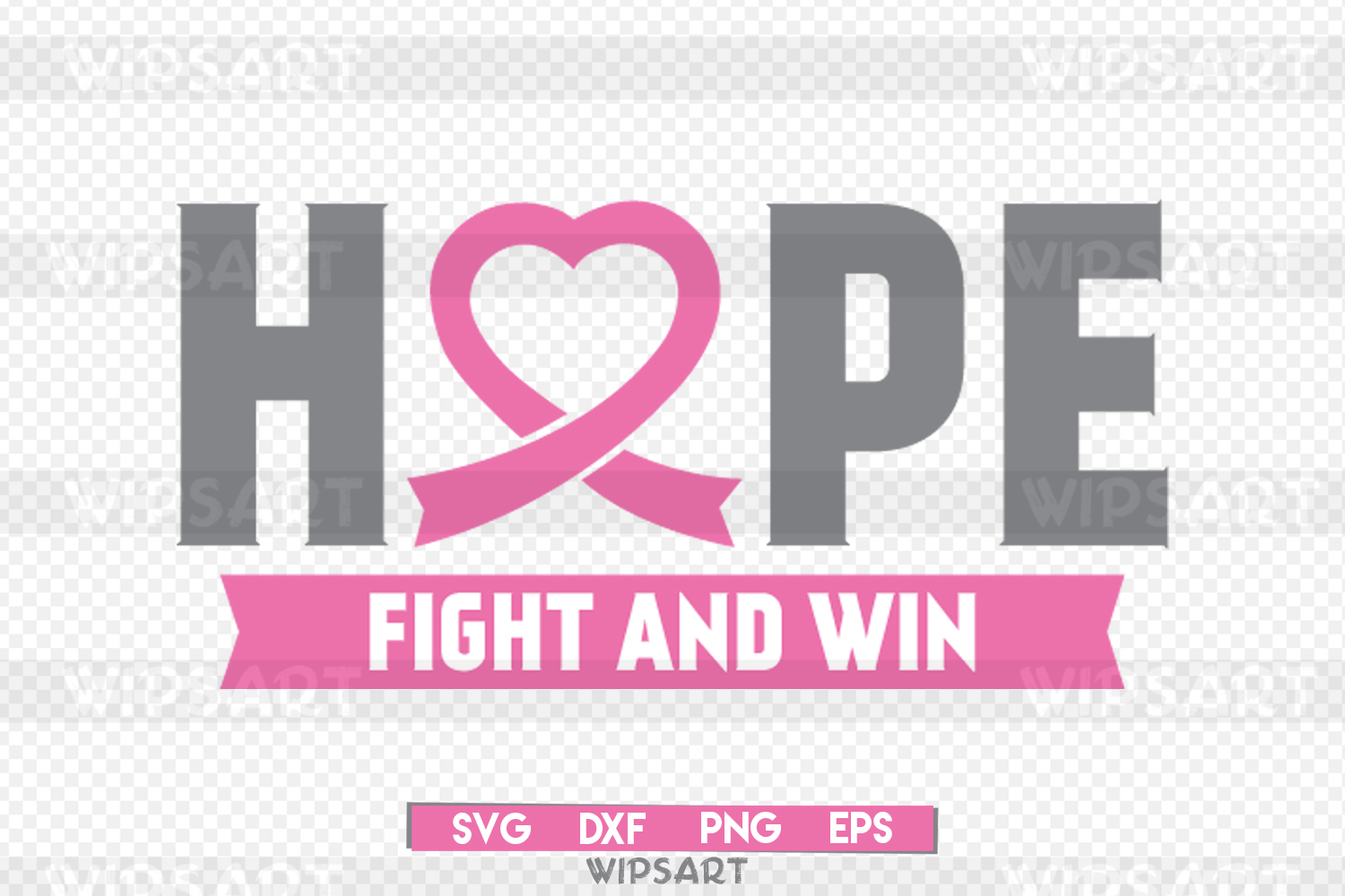 SALE! Hope fight and win breast cancer, breast caner svg example image 1