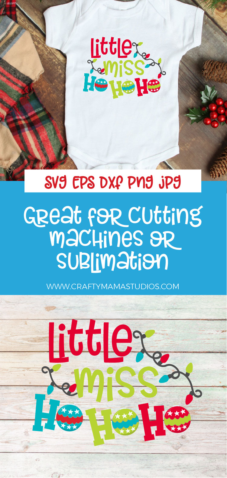 Christmas SVG, Little Miss Ho Ho Ho Sublimation example image 3