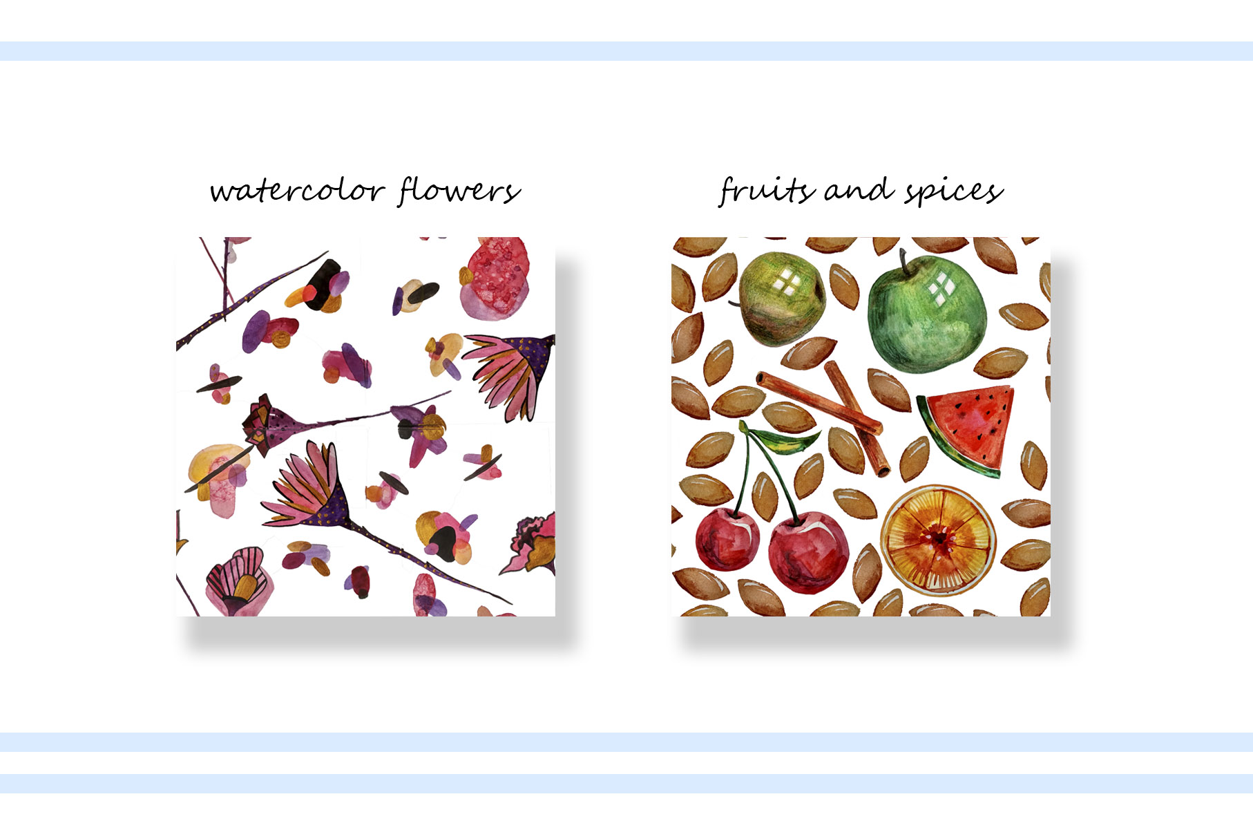 Colorful watercolor illustration. Patterns and elements example image 9