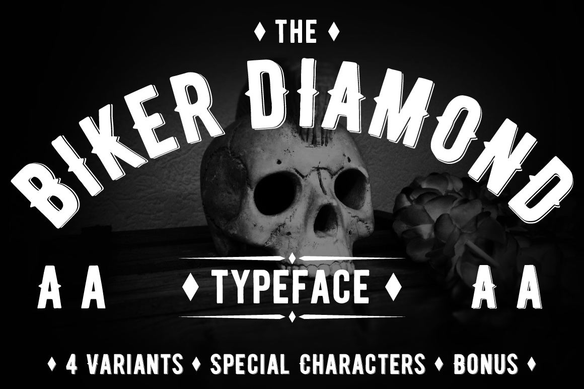 Biker Diamond Typeface example image 1