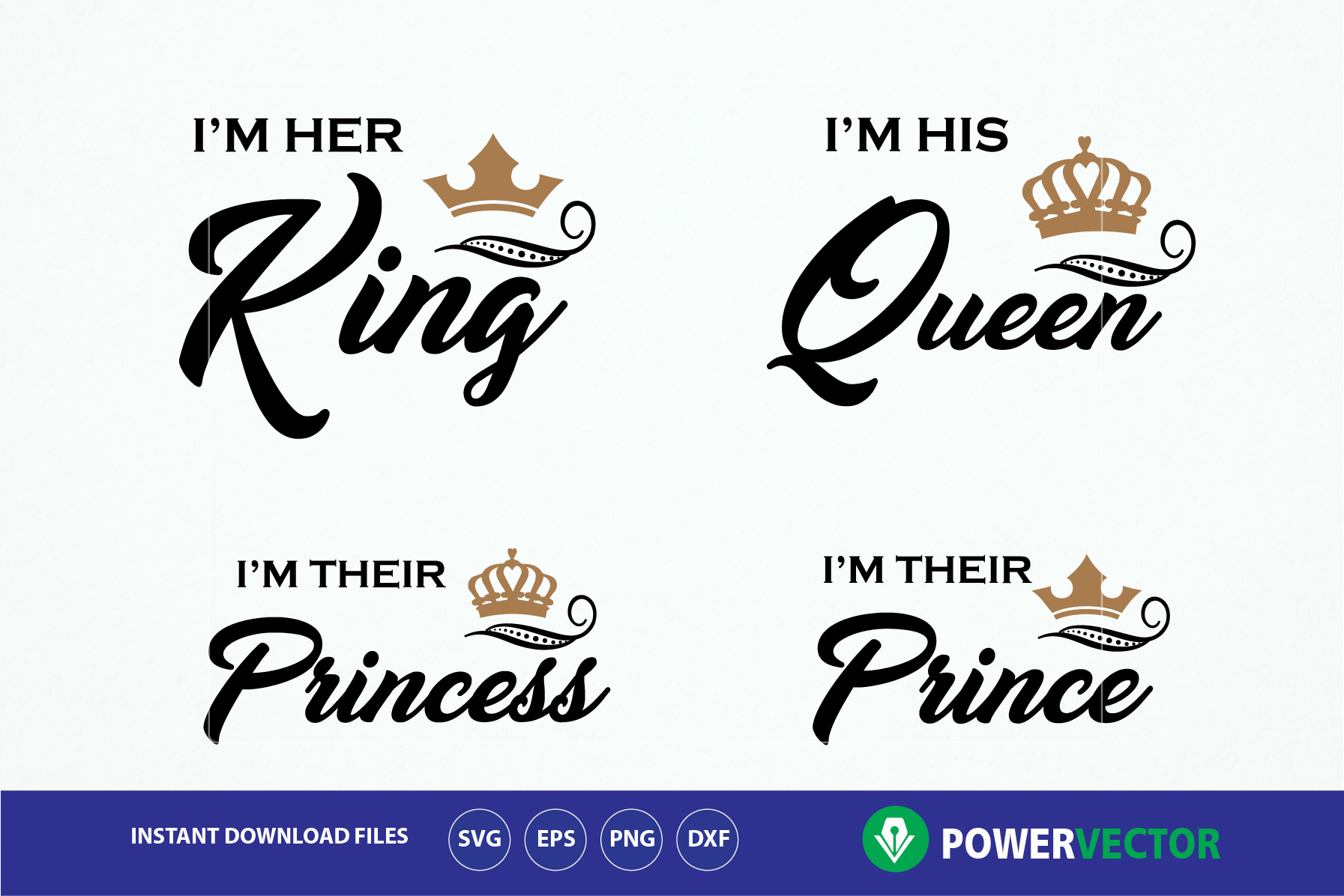 King Queen Princess Prince T shirts SVG Cuttable Design. Royal Family Shirt Vinyl Cut File - Svg Dxf Png. Crowns Svg T shirt Iron on File example image 1