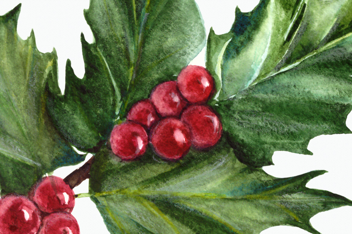 Watercolor Holly Clip Art Set example image 4