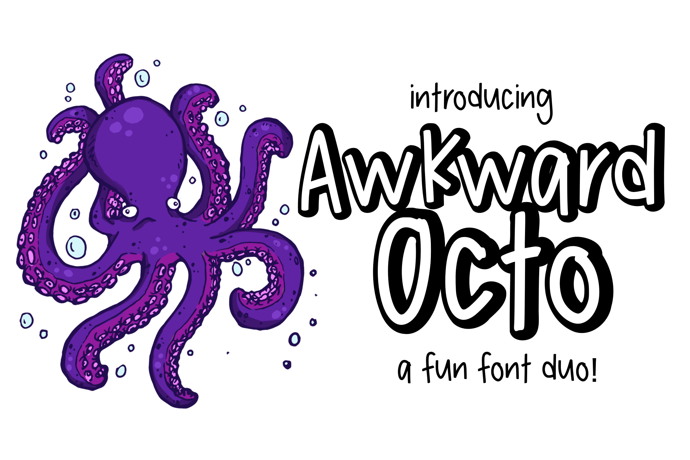 Awkward Octo a font Duo example image 1