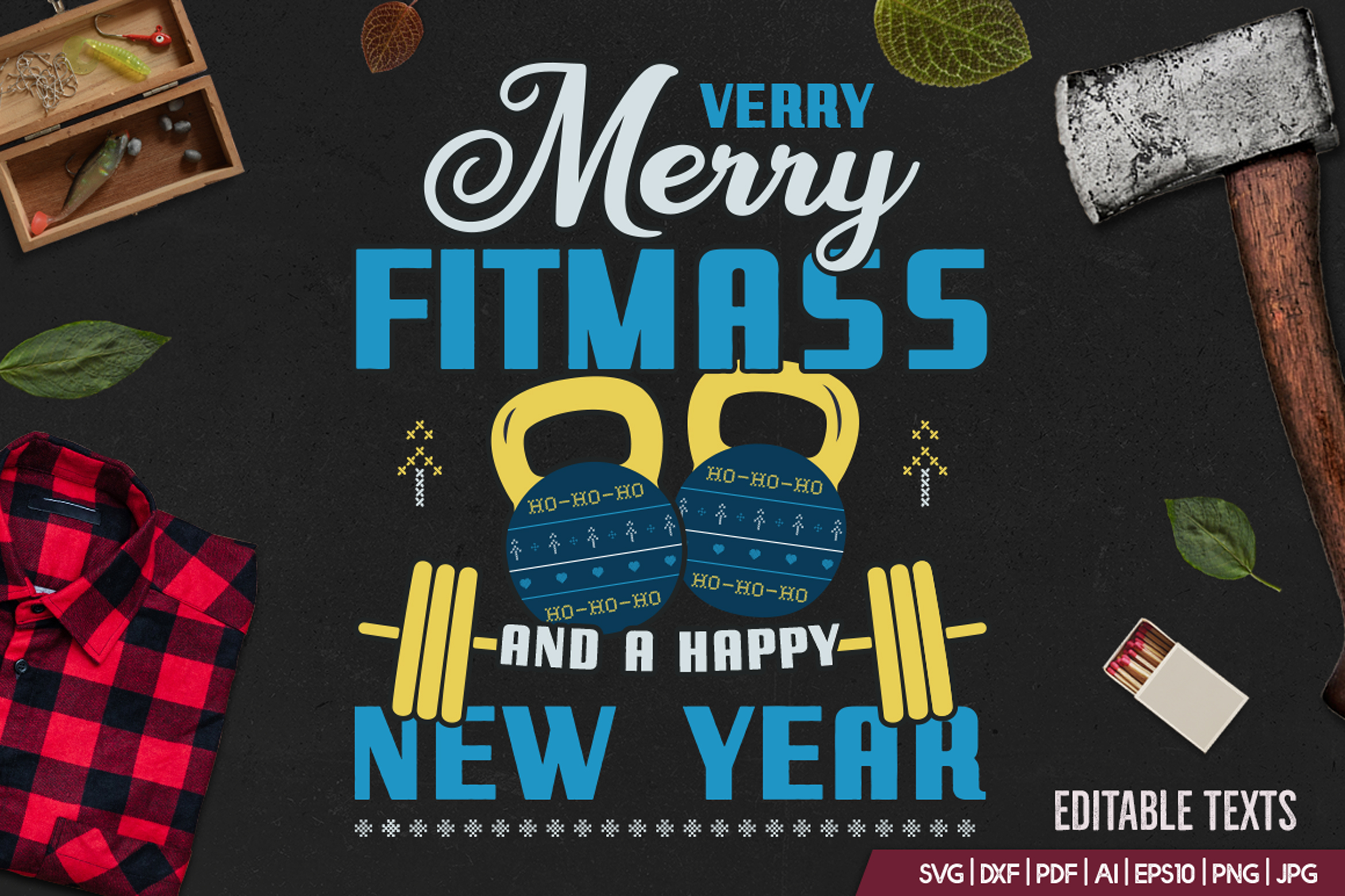 Merry Fitmass, Happy New Year Tshirt, Xmas Design SVG File example image 2