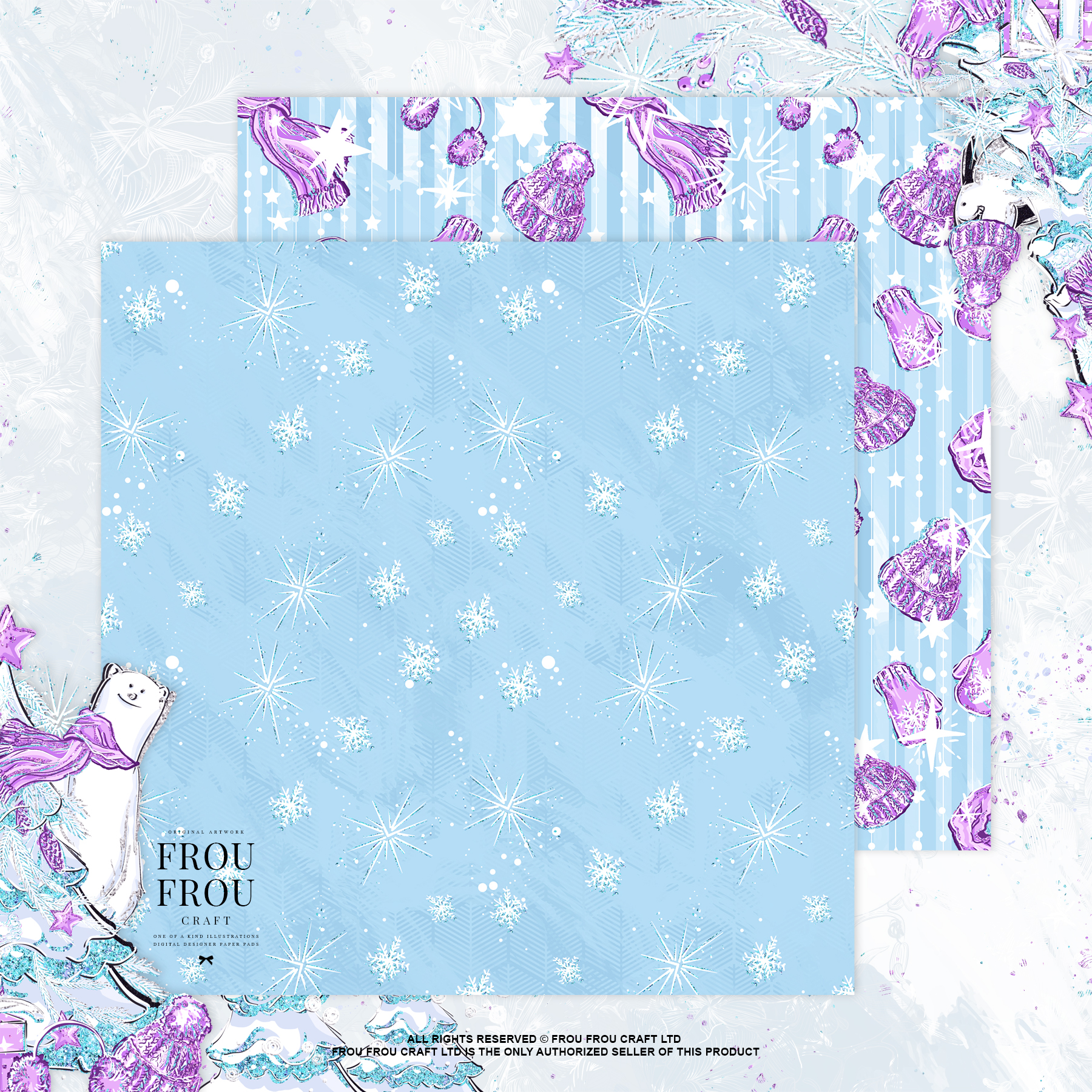Winter Christmas Tree Penguin Bear Paper Pack example image 7
