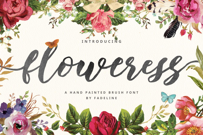 Floweress - Hand Painted Brush Font example image 1