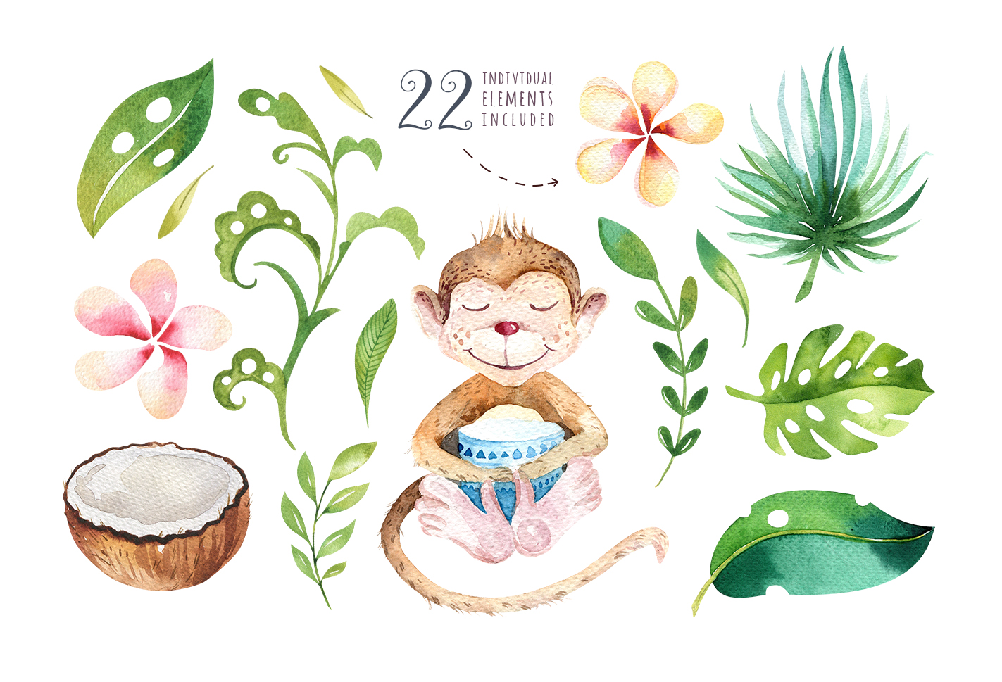 Tropical party II. Monkey collection example image 4