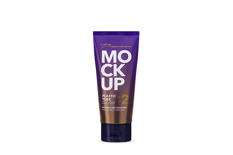 Glossy Plastic Cosmetic Tube Mockup - Front View - 02 example image 4