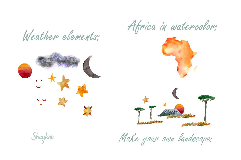 African Safari Animals Watercolor Clipart, Nursery Animals example image 3