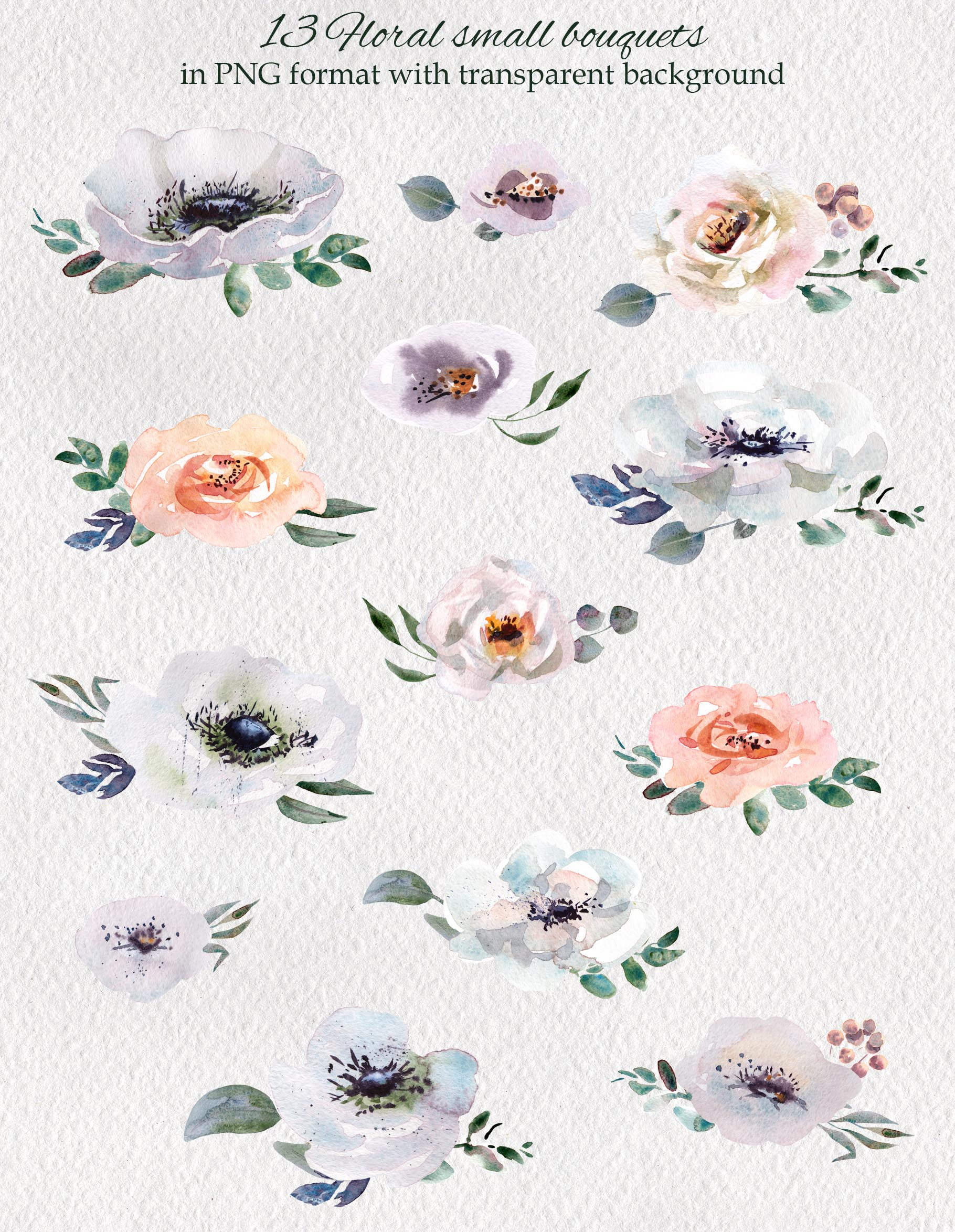 Watercolor flower design clipart example image 7