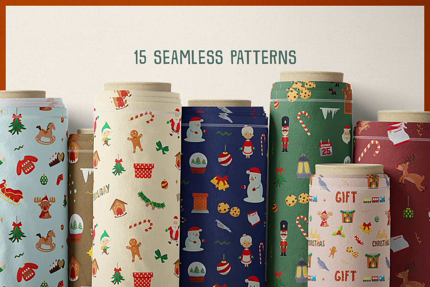 Holy Christmas Vector Clipart and Seamless Pattern example image 6