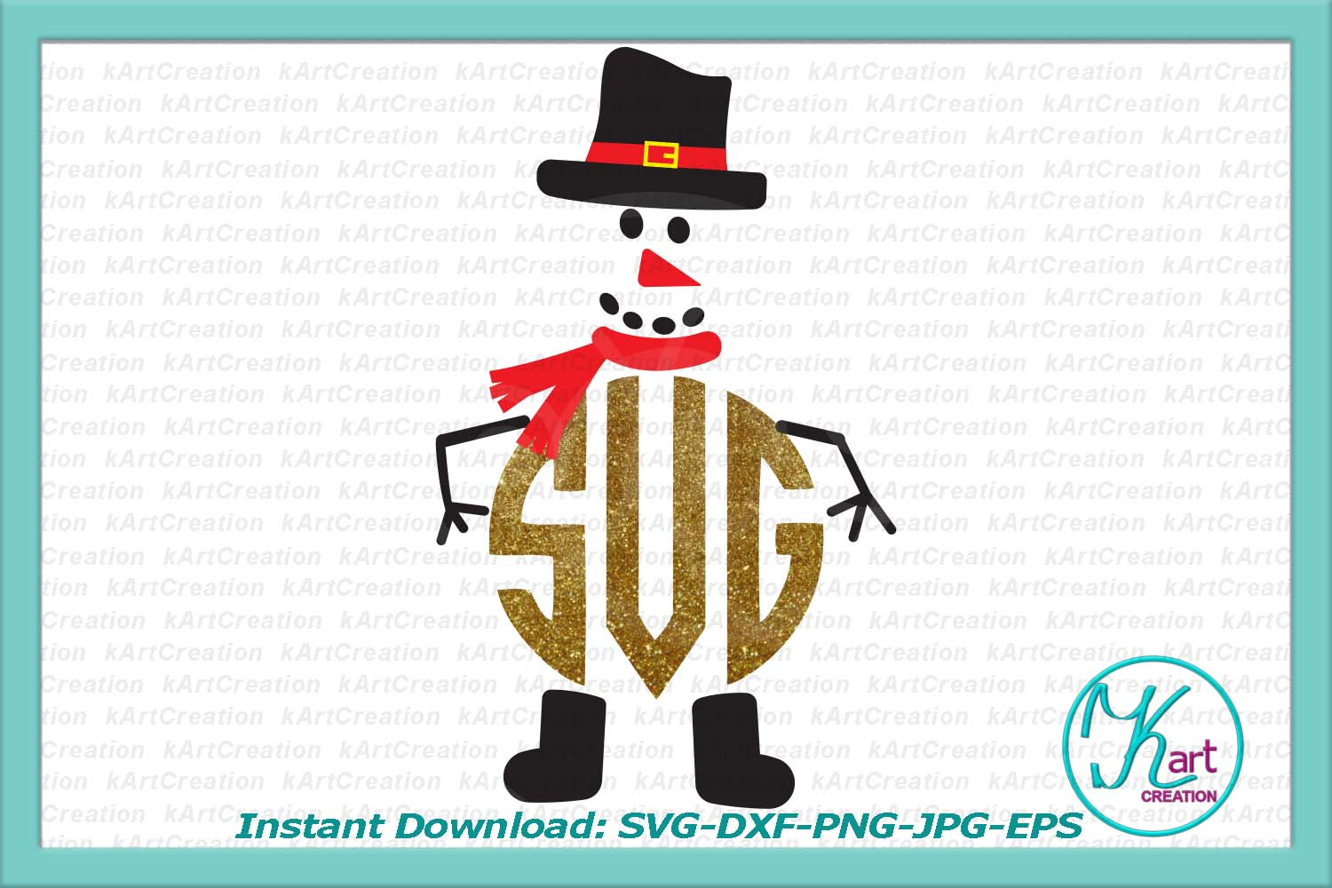 Snowman face with hat monogram clipart png svg dxf to cut example image 2