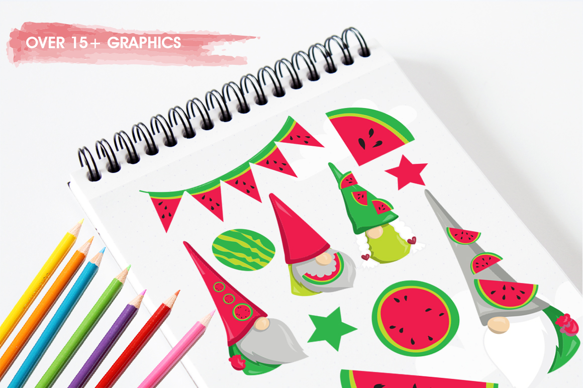 Watermelon Gnomes graphic and illustration example image 5