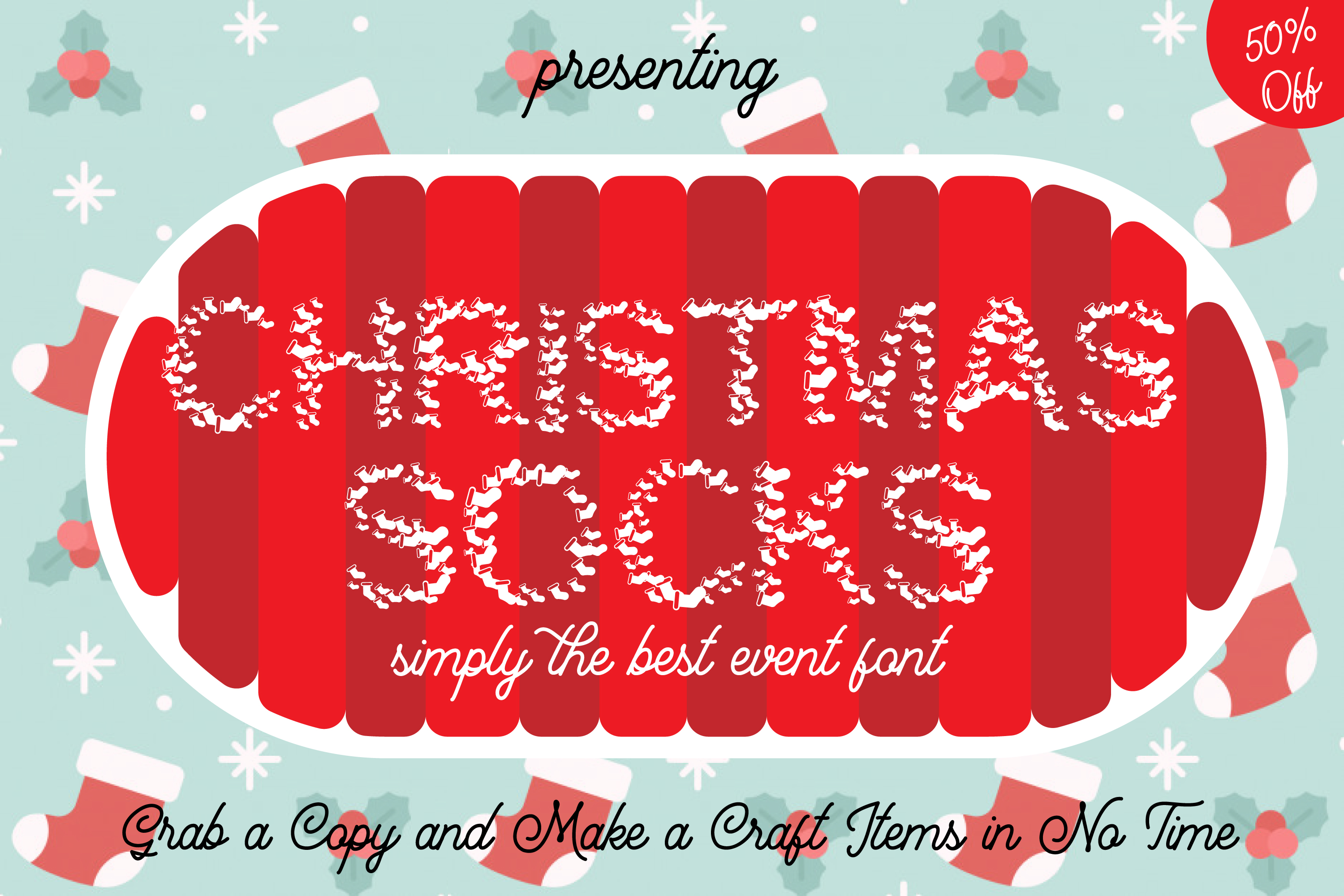 Christmas Socks Font - A Cute Wearable Event Font example image 1