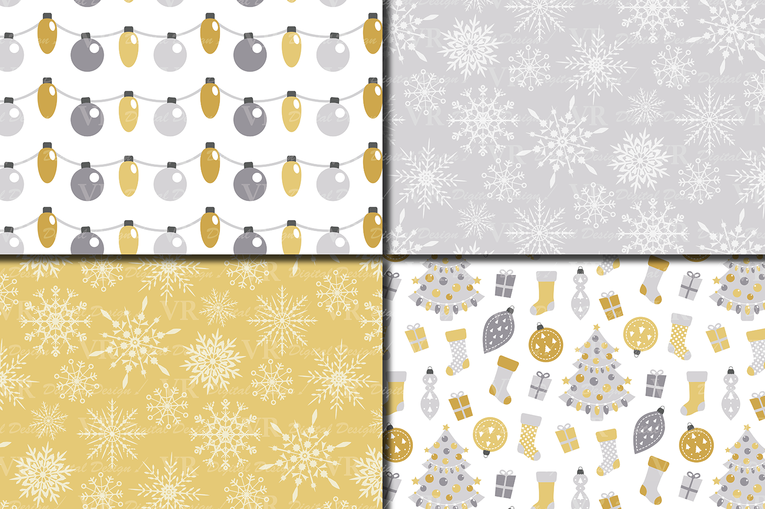 Gold and Silver Christmas Digital Paper Set example image 2