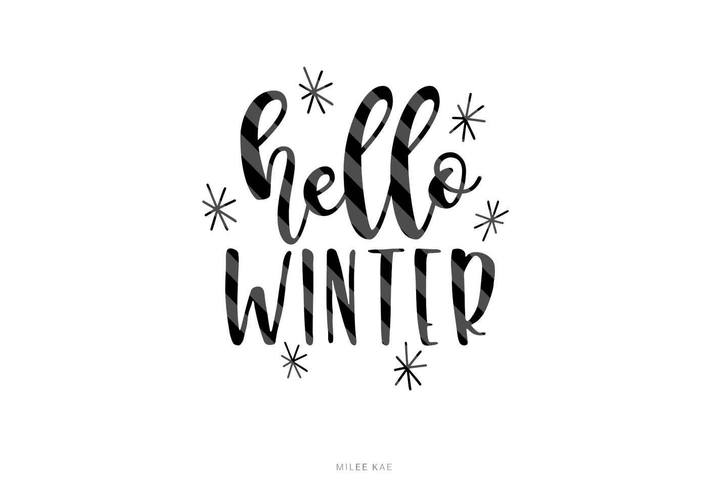 Hello Winter cutting file, SVG, PNG, EPS, DXF example image 1