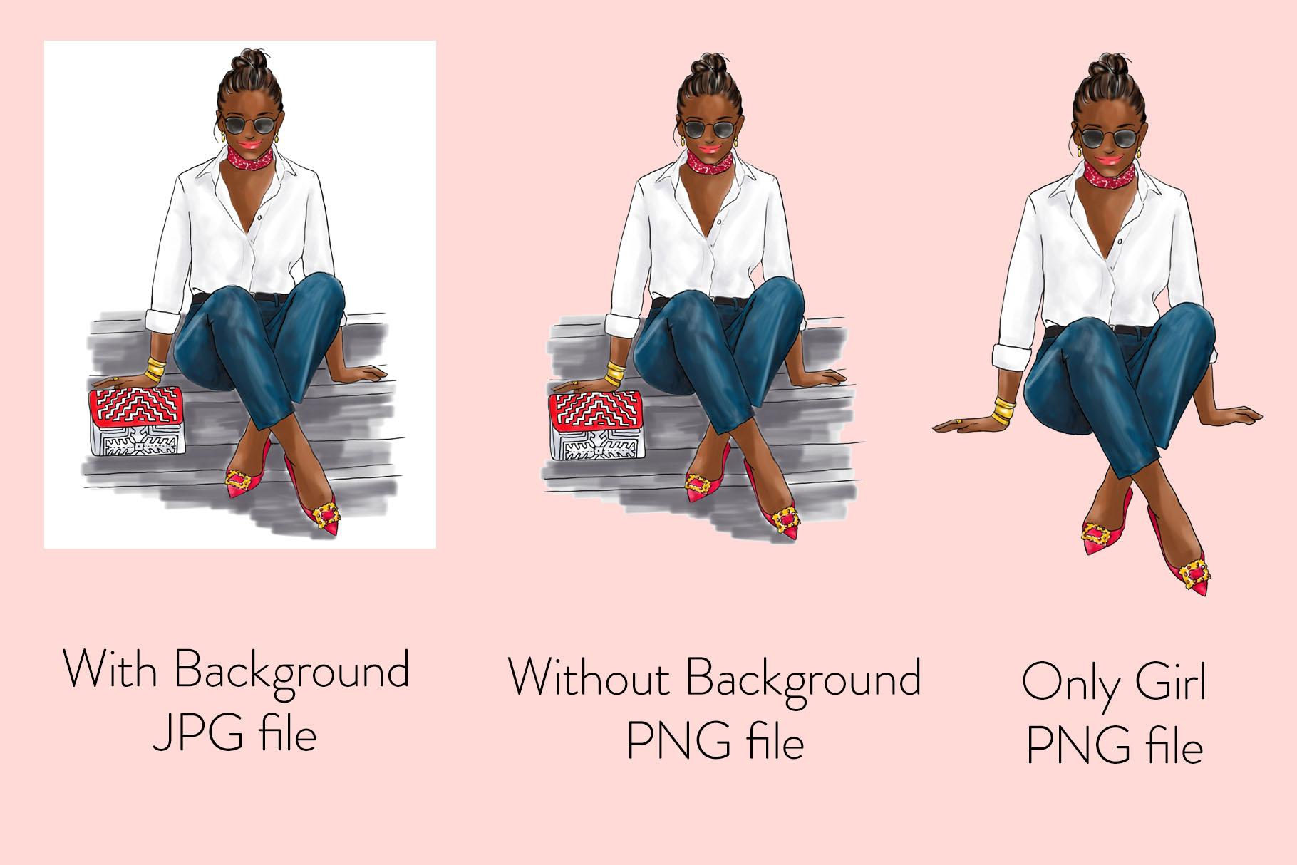 Fashion illustration - Girl in White Shirt & Jeans - Dark example image 2
