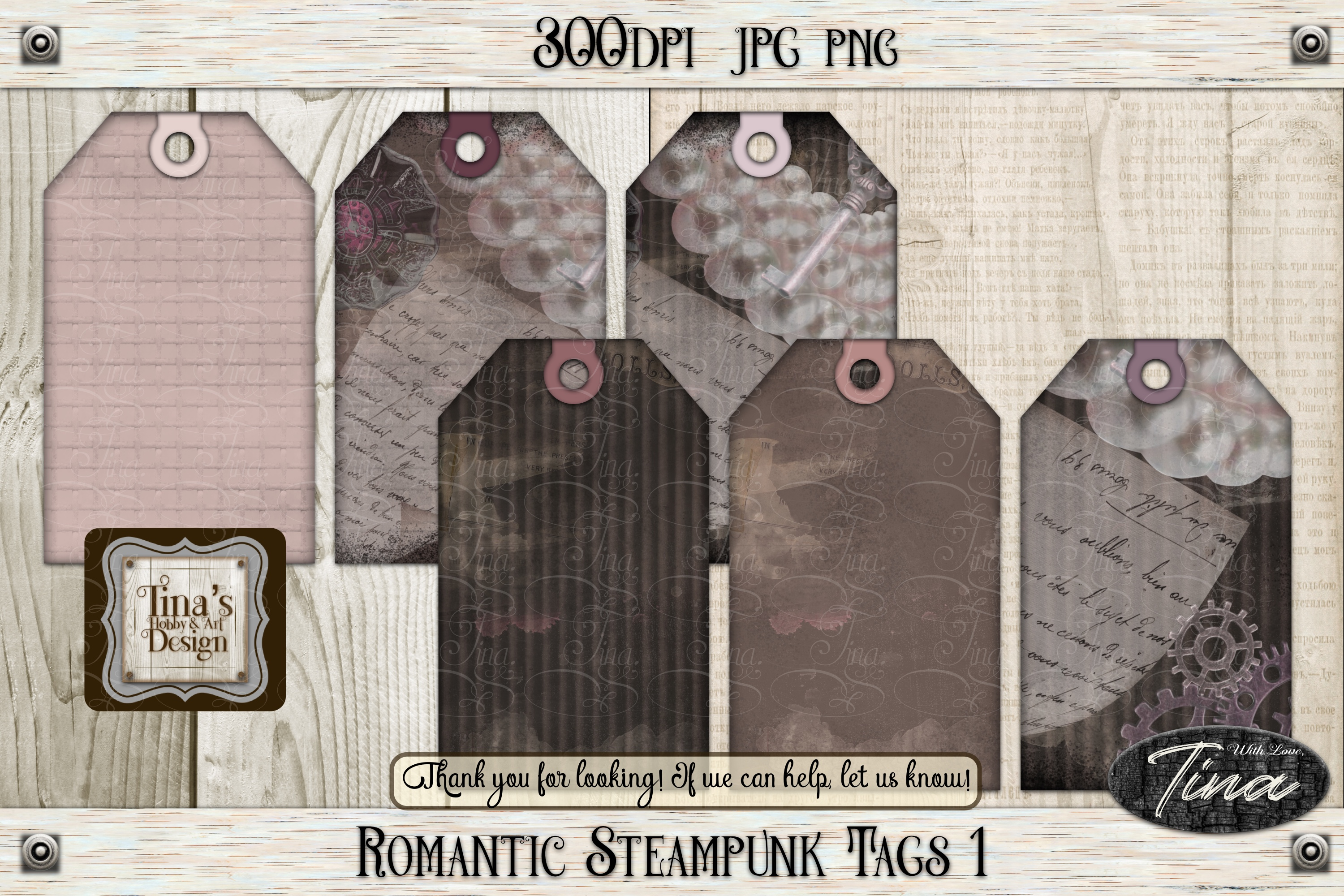 Romantic Steampunk Tags 4 Collage Mauve Grunge 101918RST4 example image 6