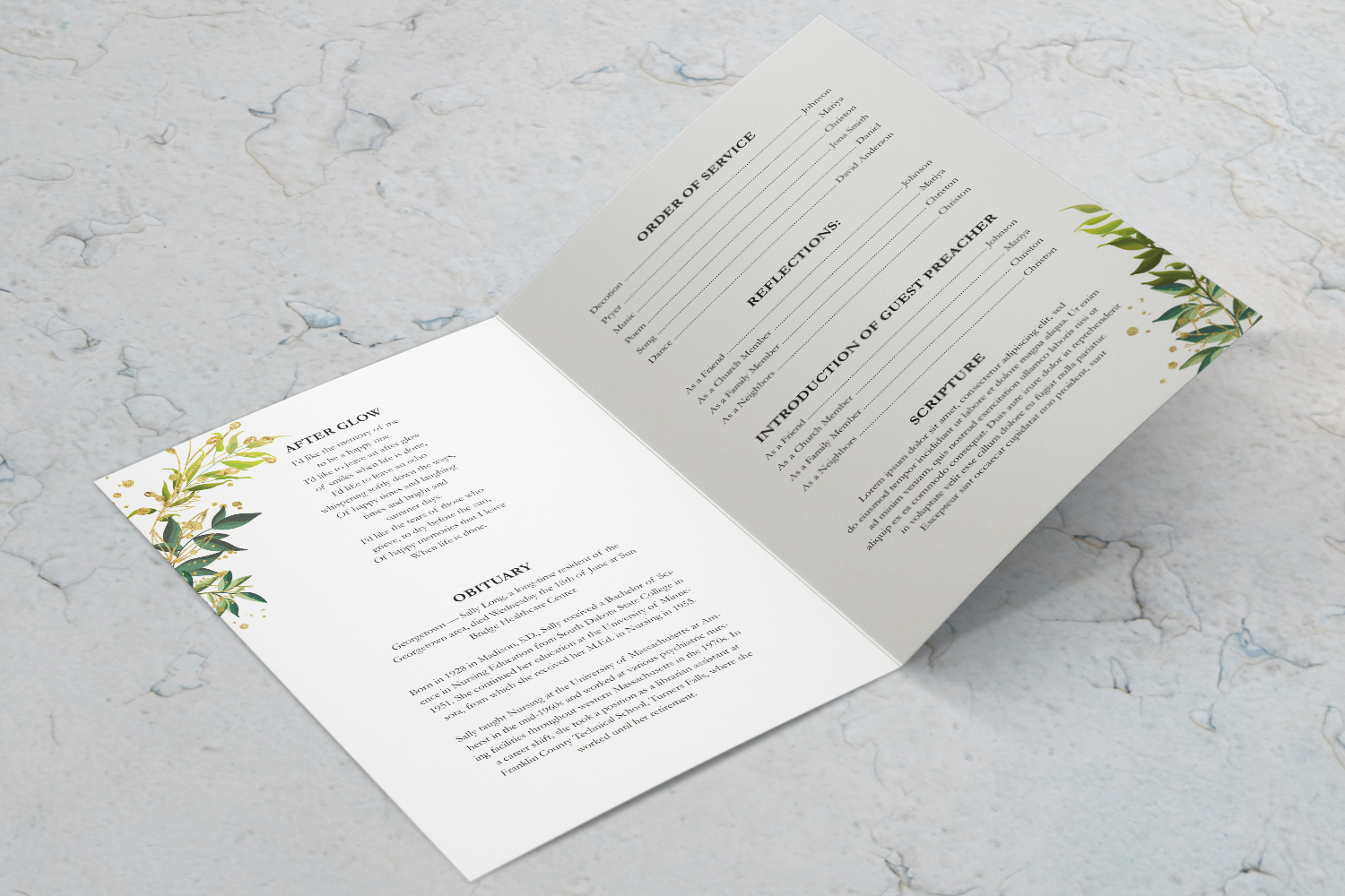 Green Leaf Watercolor Funeral Program Template example image 3