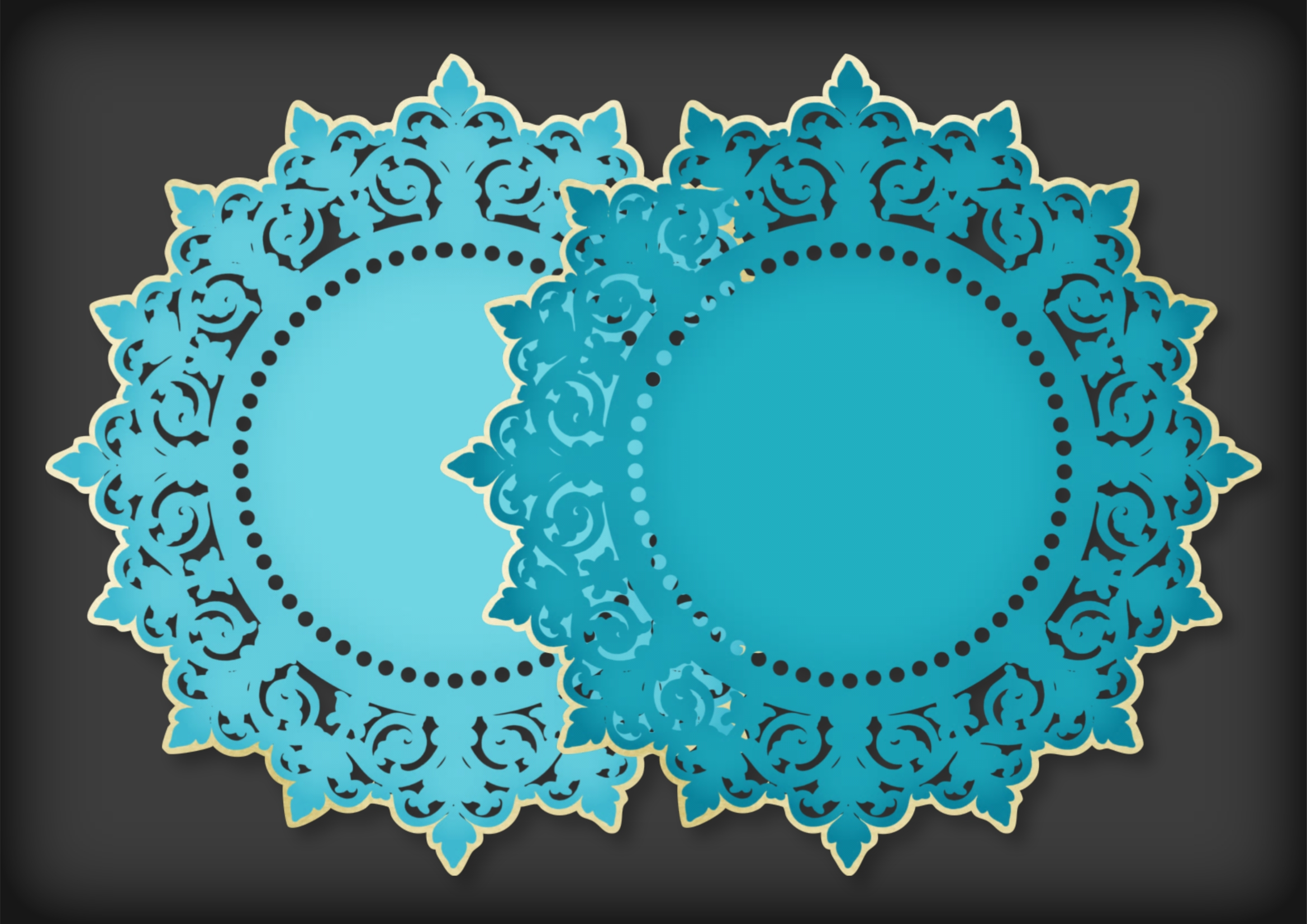 Teal and Soft Gold Mat Frame Doily example image 2