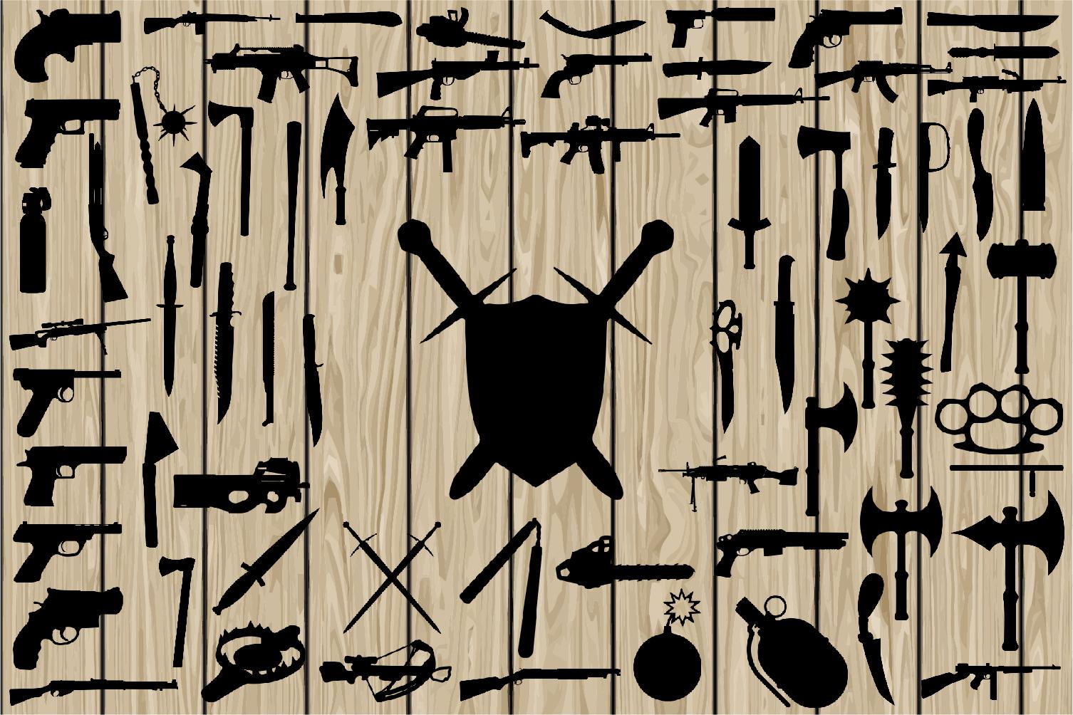 70 Weapon SVG, Gun SVG, Sword SVG, Machine Gun Svg, Weapon Silhouette, Gun Silhouette, Weapon Dxf, Gun Dxf, Gun Eps, Cutting File, Printing. example image 1