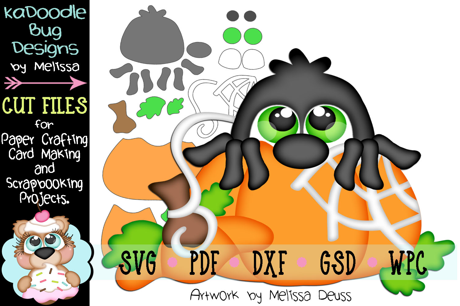 Fall Pumpkin Peeker Spider Cut File - SVG PDF DXF GSD WPC example image 1