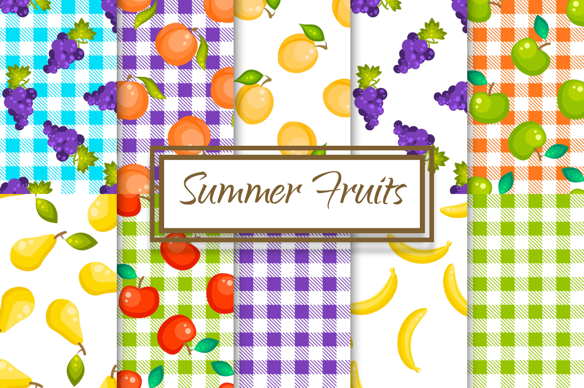 Summer Fruits 10 Seamless Patterns example image 1