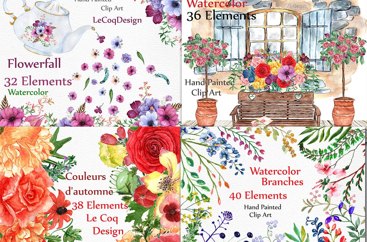 Bundle-Watercolor floral clipart example image 3