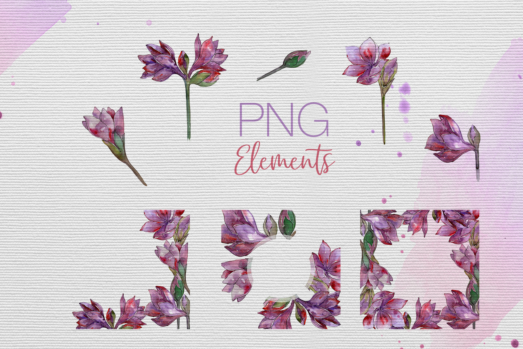 Purple amaryllis PNG watercolor set example image 8