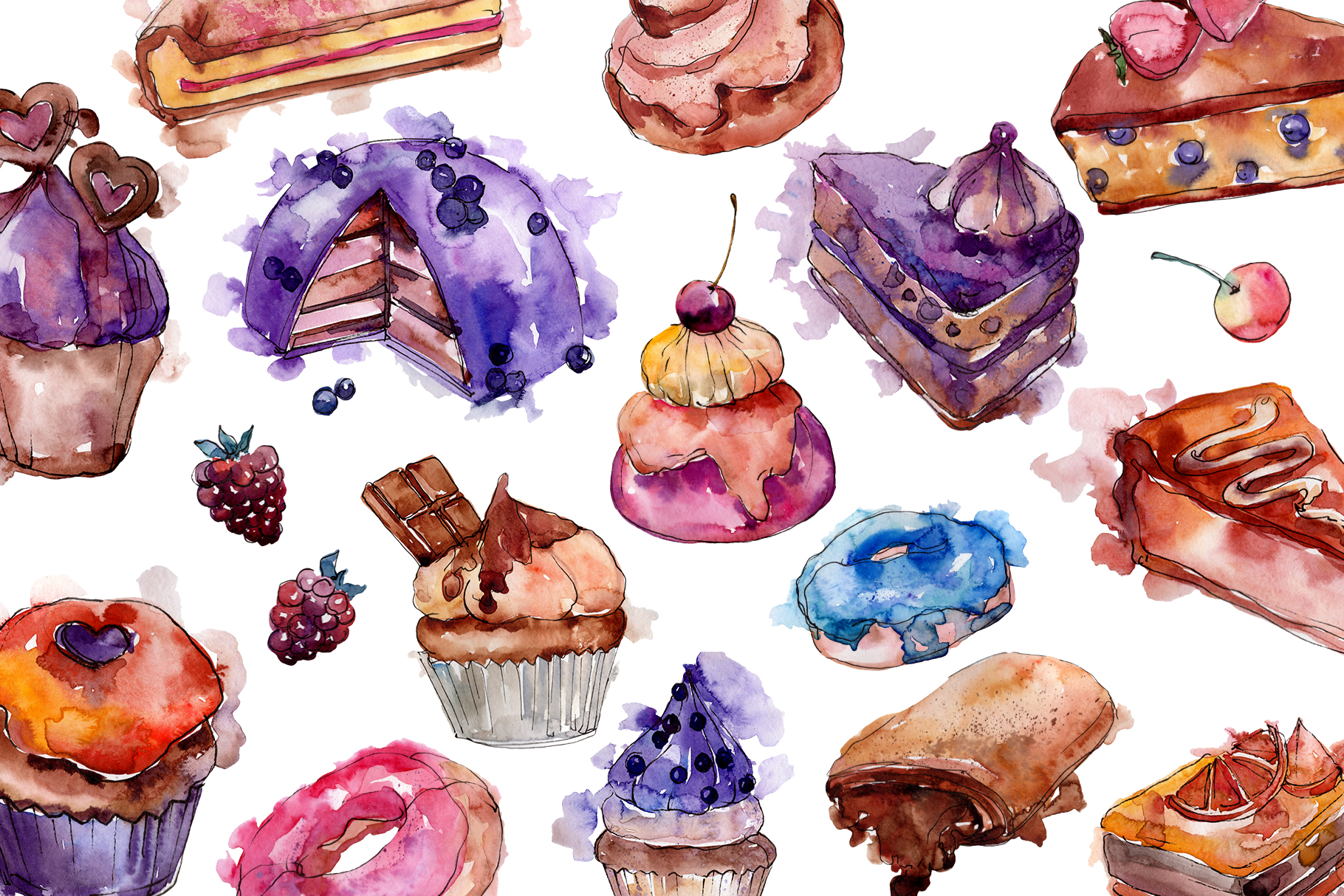 Cake sweet happiness watercolor png example image 3