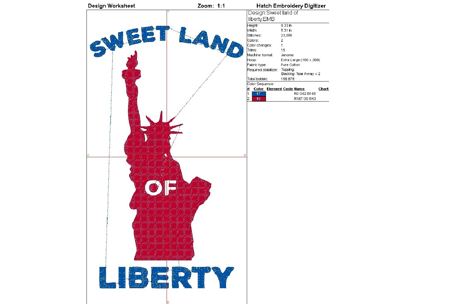 Sweet land of liberty| Independence day | Machine embroidery example image 4