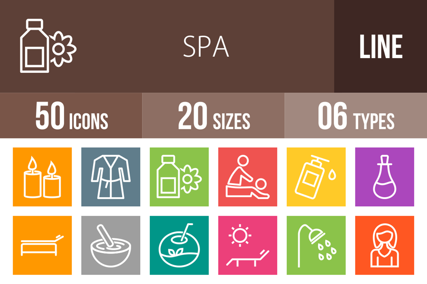 50 Spa Line Multicolor B/G Icons example image 1