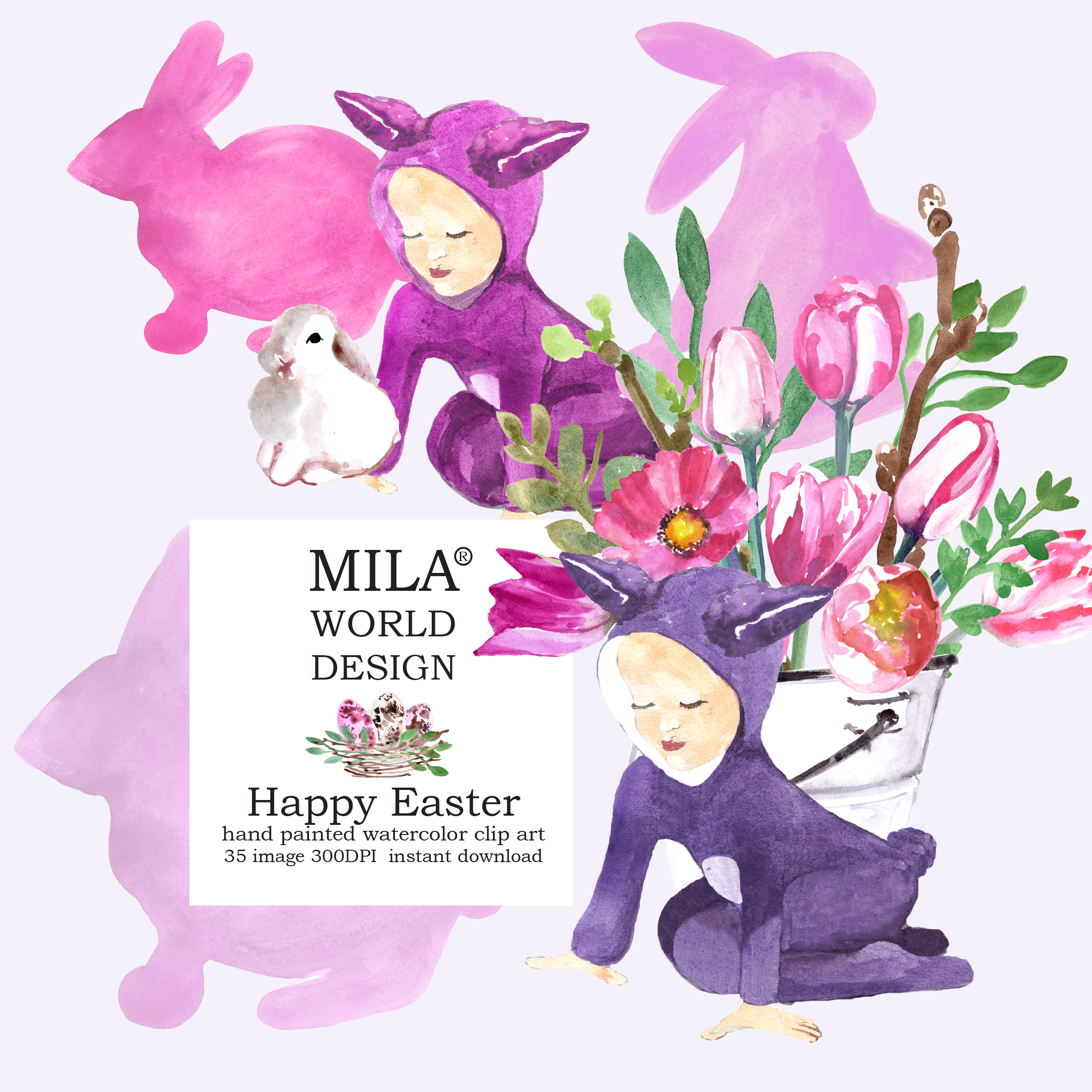 Easter Bunny and Pink tulips  example image 2