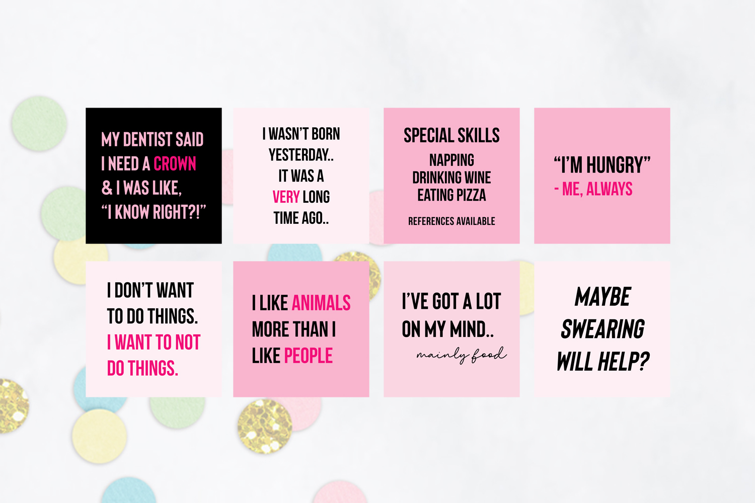 25 x Pink & Black Funny Social Media Quotes example image 3