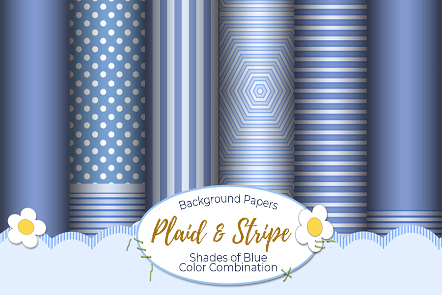54 Plaid,Stripe & Dots on Blue Shades JPG Background Papers example image 11