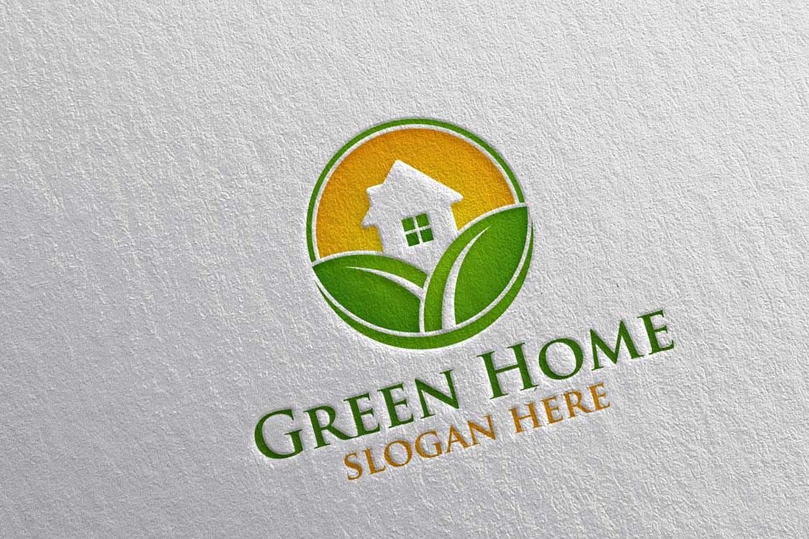 Real estate Logo, Green Home Logo 22 example image 1