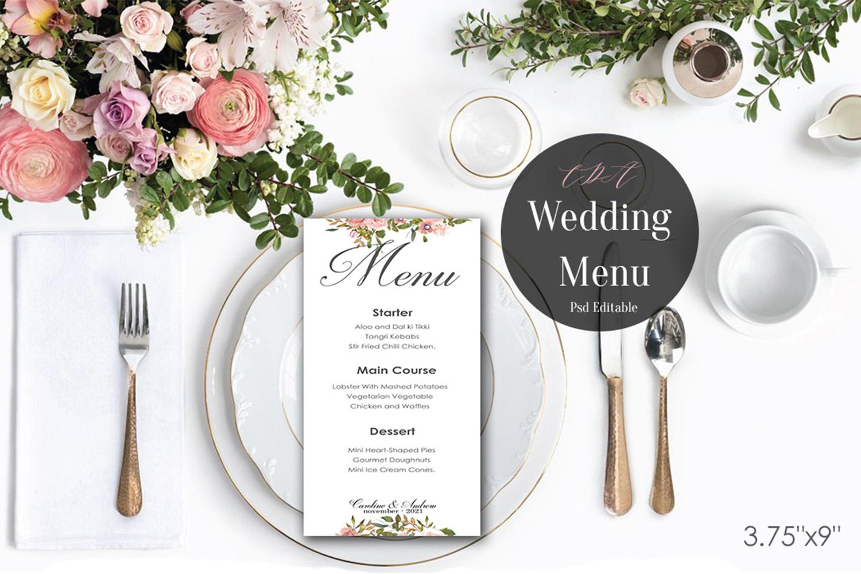 Vintage Wedding Menu Template   PSD Instant Download example image 1
