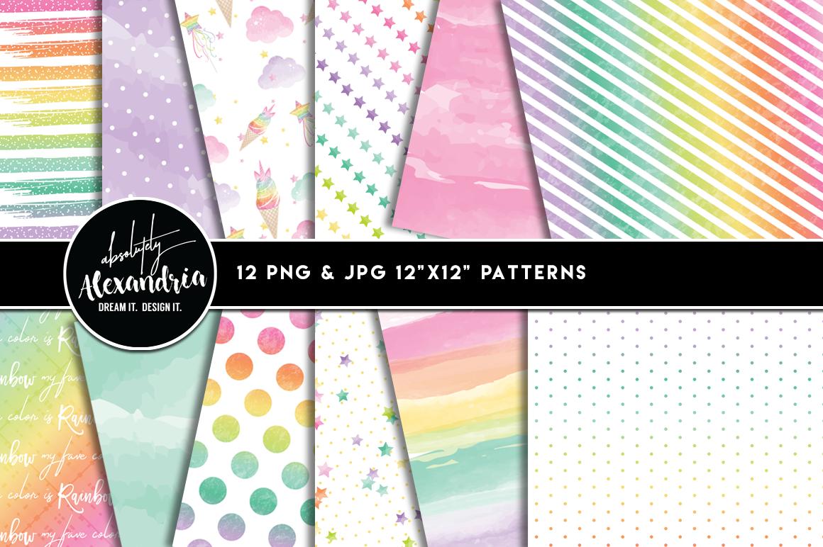 Rainbow Unicorn Clipart Graphics & Digital Paper Patterns Bundle example image 2