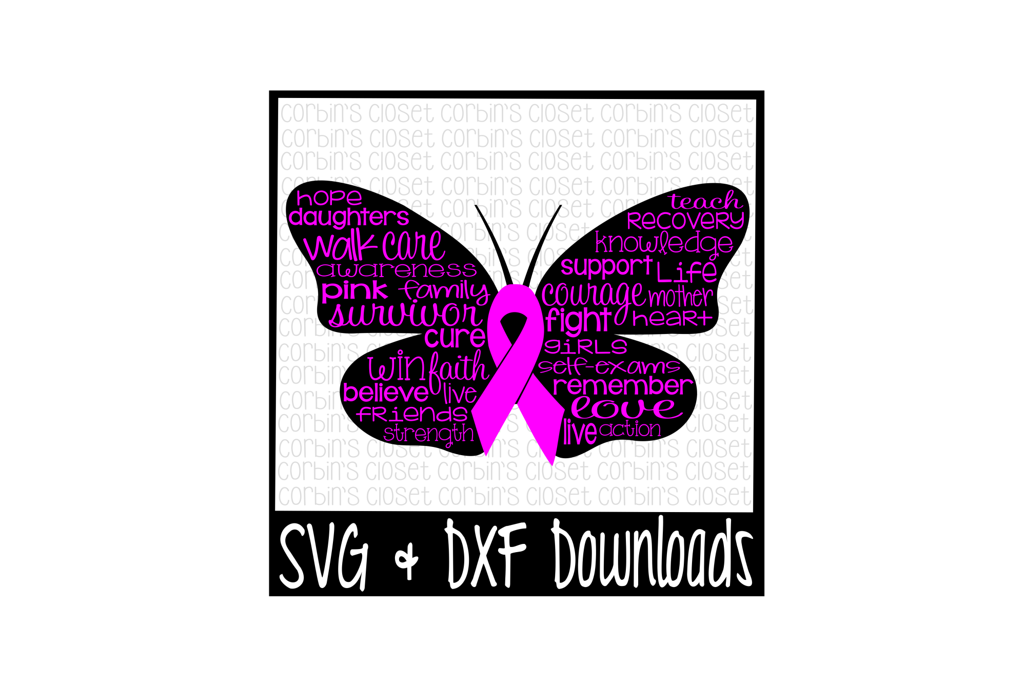 67e4b69e2 Cancer Awareness SVG * Breast Cancer Butterfly Cut File example image 1