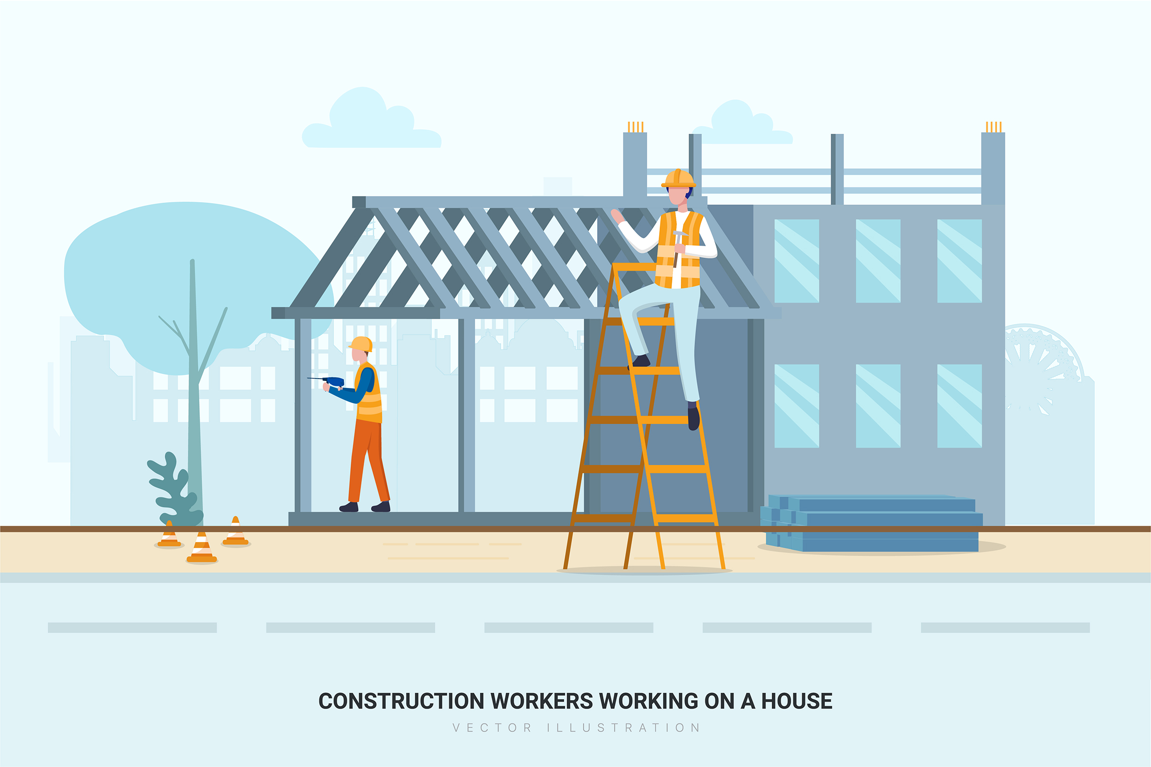Construction & Real Estate Vector Illustration - Part 30 example image 10