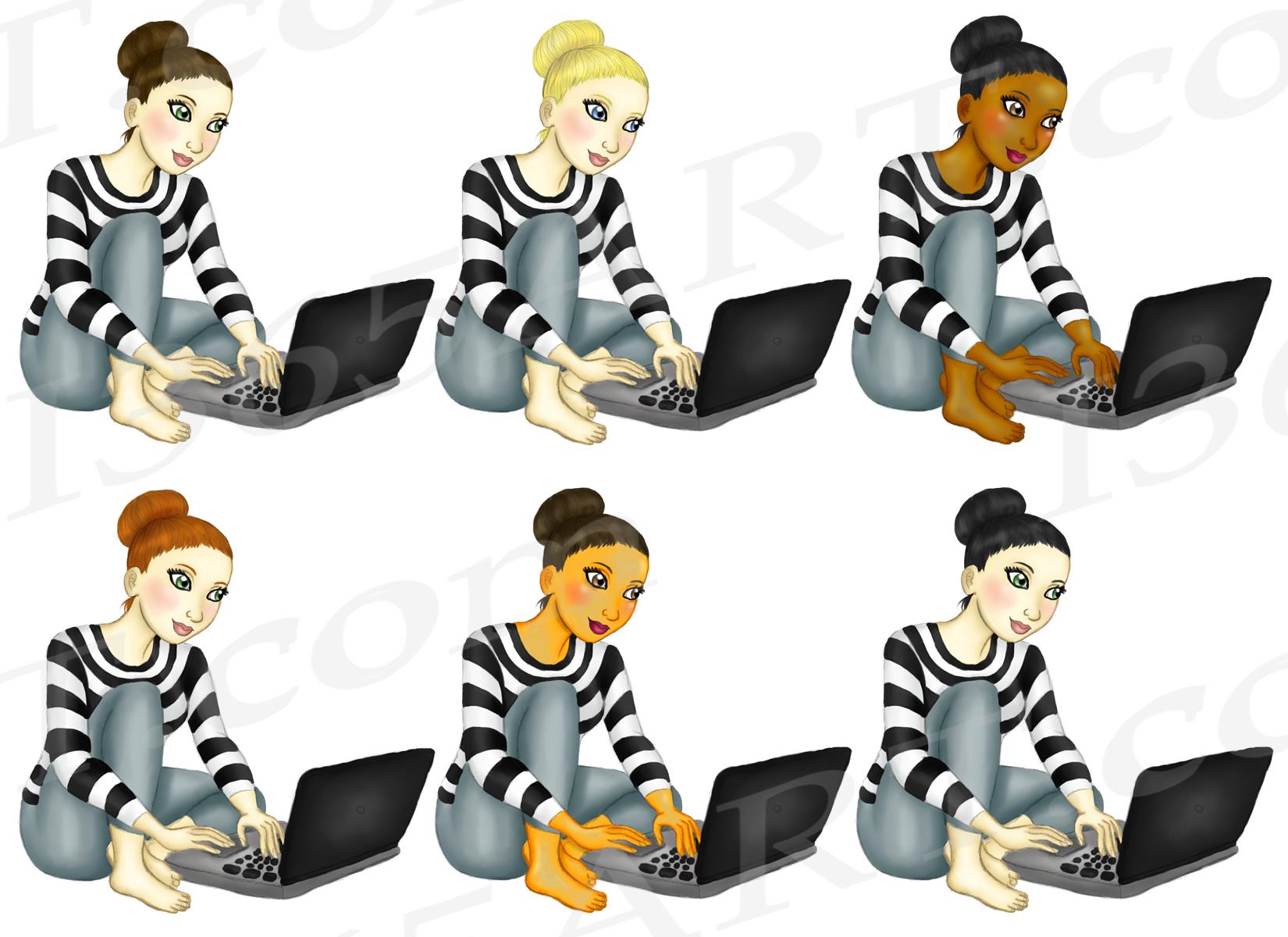 Blogger Girl Clipart, Girl Boss Fashion Illustrations example image 2