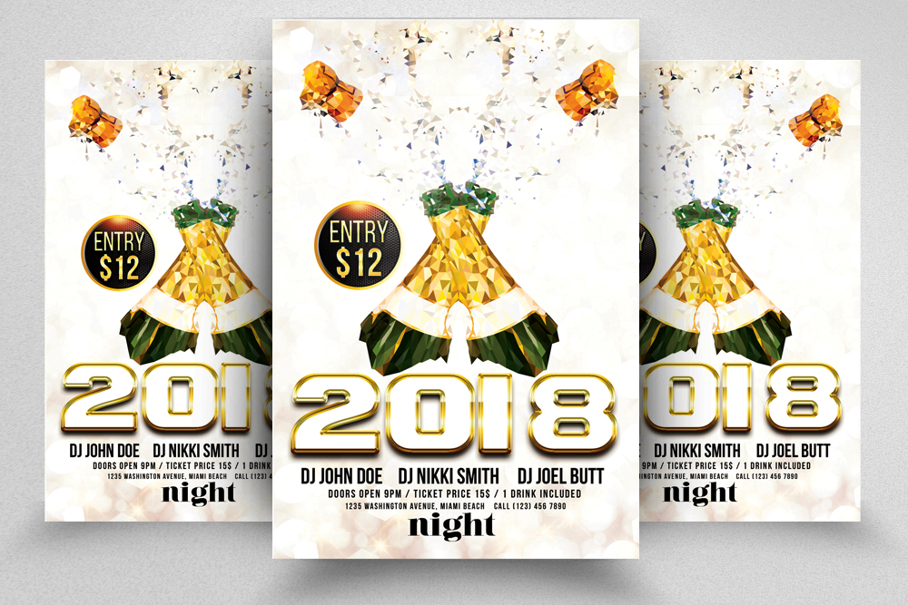 New Year Flyer Psd Templates example image 1