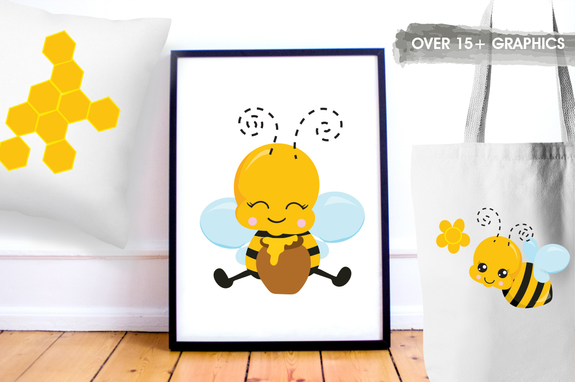 Kawaii Honeybees graphic and illustrations example image 2